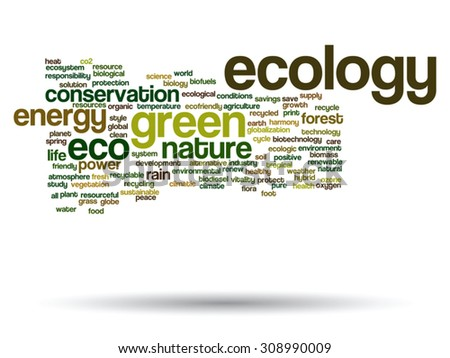 Vector concept or conceptual abstract green ecology and conservation word cloud text on white background, metaphor to environment, recycle, earth, alternative, protection, energy, eco friendly or bio - stock vector
