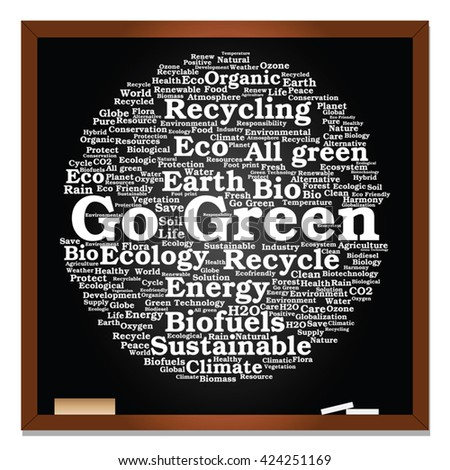 Vector concept or conceptual abstract green ecology, conservation word cloud text, blackboard background, metaphor to environment, recycle, earth, alternative, protection, energy, eco friendly or bio - stock vector