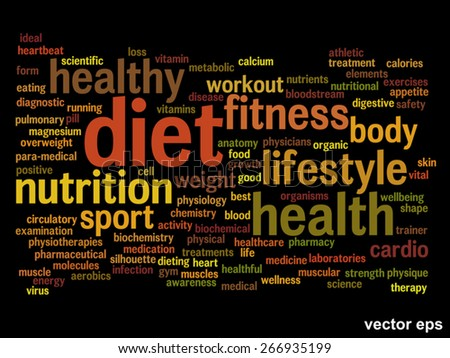 Vector concept or conceptual abstract health word cloud or wordcloud isolated on background - stock vector