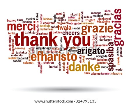 Vector concept or conceptual abstract thank you word cloud in different languages or multilingual for education or thanksgiving day, metaphor to appreciation, multicultural, friendship, tourism travel - stock vector