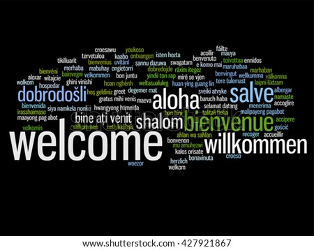 Vector concept conceptual abstract welcome greeting stock vector vector concept or conceptual abstract welcome or greeting international word cloud in different languages or multilingual m4hsunfo