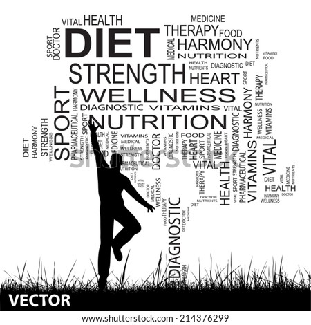 Vector concept or conceptual black text word cloud as tree and grass, a man jumping isolated on white background, metaphor for health, nutrition, diet, wellness, body, energy, medical, sport, heart - stock vector