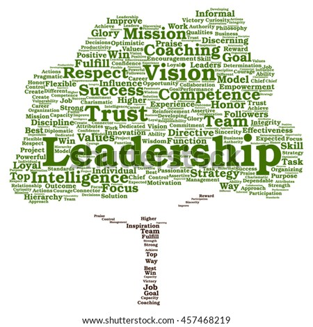 Vector concept or conceptual business leadership or management tree word cloud isolated on background - stock vector