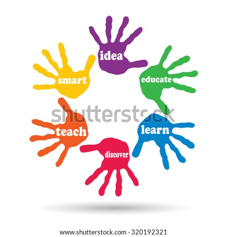 Vector concept or conceptual circle of colorful hand print word cloud text made by children isolated, white background for paint, handprint, symbol, people, identity, together, friendship, play or fun - stock vector