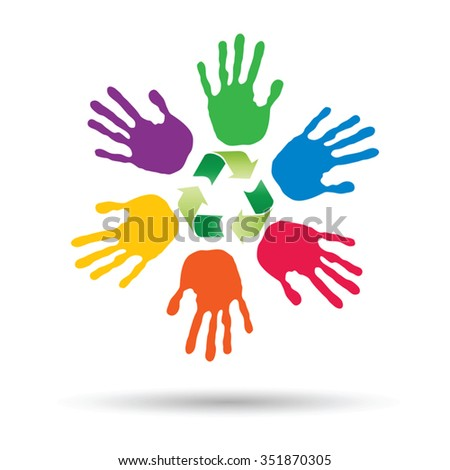 Vector concept or conceptual circle or spiral of colorful hand prints made by children with a green recycle symbol isolated on white background, for ecology, education, environment, eco, global nature