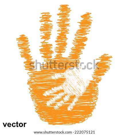 Vector concept or conceptual cute drawing paint hands of mother and child isolated on white for art, care, childhood, family, fun, happy, infant, symbol, kid, little, love, mom, motherhood or young - stock vector