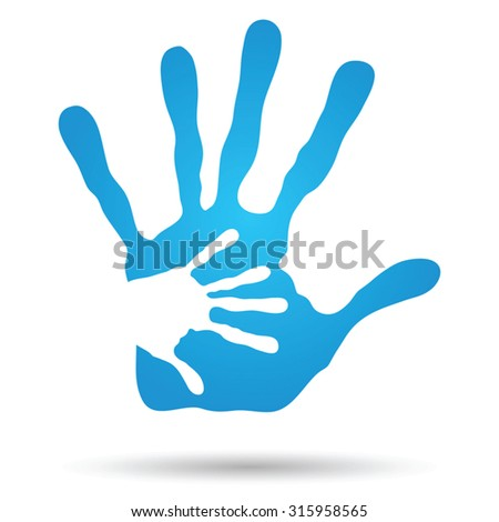 Vector concept or conceptual cute paint hand of mother child isolated on white background for art, care, childhood, family, fun, happy, infant, symbol, kid, little, love, mom, motherhood, young design - stock vector