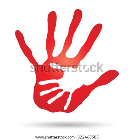 Vector concept or conceptual cute paint hand of mother child isolated on white background for art, care, childhood, family, fun, happy, infant, symbol, kid, little, love, mom, motherhood, young design