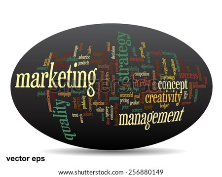 Vector concept or conceptual 3D oval or ellipse abstract word cloud on black background, metaphor for business, trend, media, focus, market, value, product, advertising, customer, corporate wordcloud - stock vector