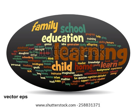 Vector concept or conceptual education abstract word cloud, black background, metaphor to child, family, school, life, learn, knowledge, home, study, teach, educational, achievement, childhood or teen - stock vector