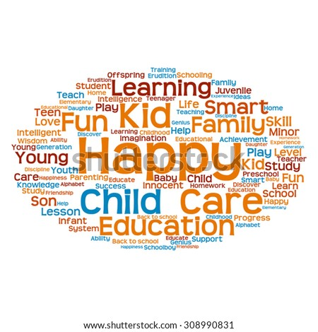Vector concept or conceptual education abstract word cloud, white background, metaphor to child, family, school, life, learn, knowledge, home, study, teach, educational, achievement, childhood or teen - stock vector