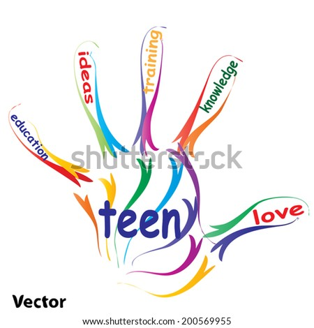 Vector concept or conceptual education hand print word cloud, white background, metaphor to child, family, school, life, learn, knowledge, home, study, teach, educational, achievement, childhood, teen - stock vector
