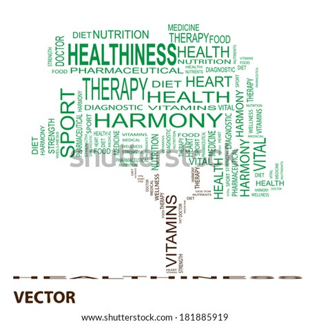 Vector concept or conceptual green text word cloud or tagcloud as a tree isolated on black background as metaphor for health, nutrition, diet, wellness, body, energy, medical, sport, heart or science