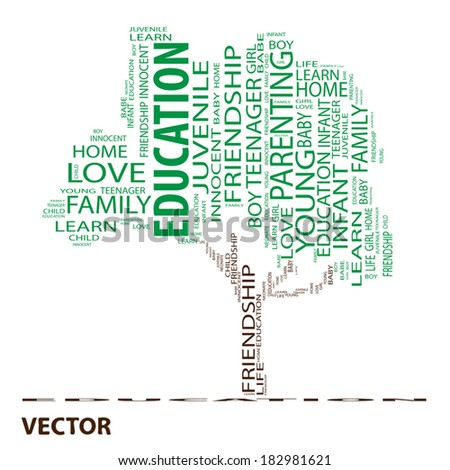 Vector concept or conceptual green text word cloud or tagcloud as a tree isolated on white background as a metaphor for child, family, education, life, home, love and school learn or achievement - stock vector