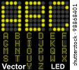 Vector concept or conceptual group,set or collection of fonts made of yellow bright leds isolated on black background,for display,neon,electronic,digital,electric,lamp,dots,diode or technology designs - stock vector