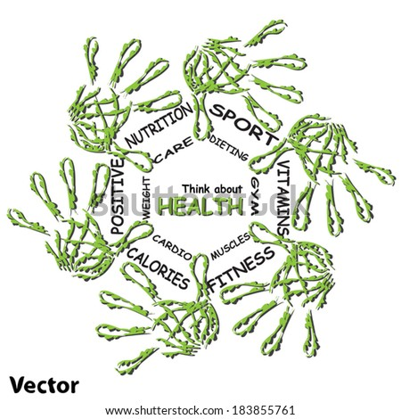 Vector concept or conceptual human child abstract green ecology hand print symbol of leafs, isolated on white background, metaphor to nature, environment, recycle, bio, conservation, friendship, unity - stock vector