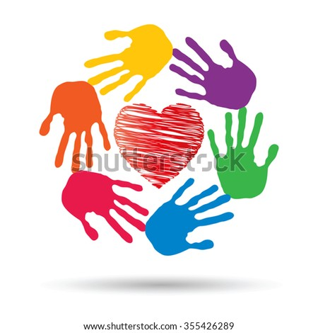 Vector concept or conceptual red heart symbol with child human hand prints spiral circle isolated on white background, metaphor to love, care, friendship, happy, family, protection, romantic or safety