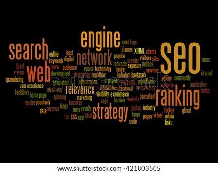 Vector concept or conceptual search engine optimization, seo abstract word cloud isolated on background, metaphor to marketing, web, internet, strategy, online, rank, result,  network, top, relevance - stock vector