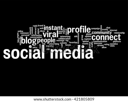 Vector concept or conceptual social media marketing or communication abstract word cloud isolated on background, metaphor to networking, community, technology, advertising, global, worldwide tagcloud - stock vector
