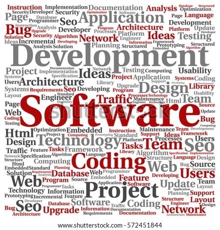 Vector Concept Or Conceptual Software Development Project Coding Technology  Square Word Cloud Isolated On Background Metaphor