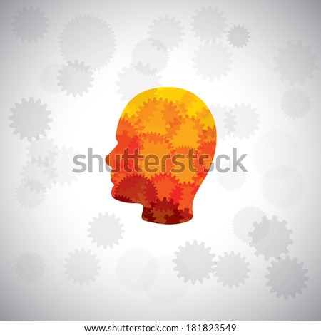 vector concept - puzzle head of human face with gears & cogs. This graphic of human side face also represents intelligence, complex brain, human cyborg, machine man, human computer, etc - stock vector