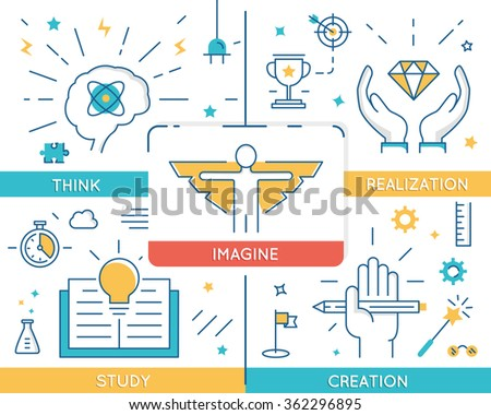 Vector concept related to career progress, business people training and education. Infographics  - stock vector