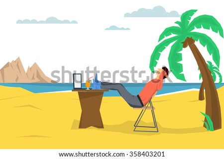 Vector concept remote working place. Freelance man on beach with a computer and a cocktail under a palm tree. Flat style. Banner background with place for text. Web infographics. Downshifting