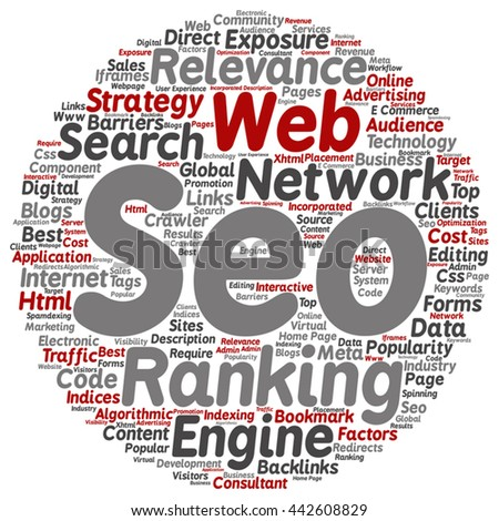 Vector concept search engine optimization, seo abstract round word cloud isolated on background, metaphor to marketing, web, internet, strategy, online, rank, result,  network, top, relevance - stock vector
