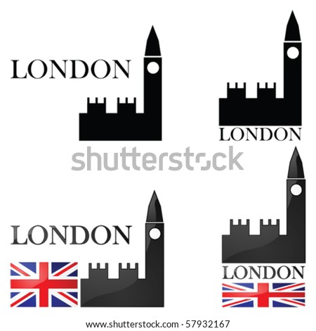 Vector concept set of illustrations for London showing an icon for the Big Ben alongside other elements such as the Union Jack
