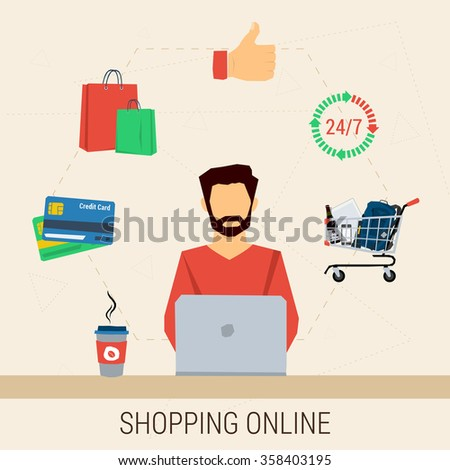 Vector concept shopping online. Man with laptop shopping online. Cup of coffee, cart contents, credit cards, shopping bags, around the clock. Flat style. Web infographic - stock vector