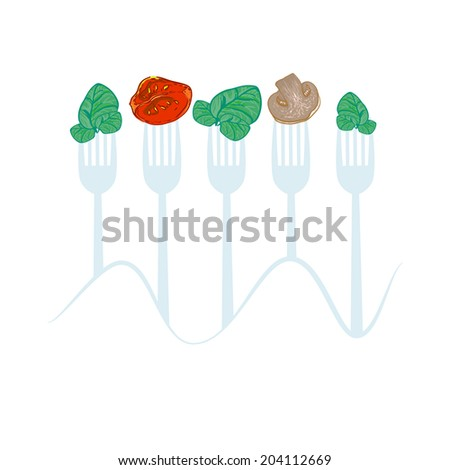 vector concept vegetarian illustration with forks and fresh spinach
