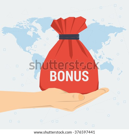 Vector concept womans hand with red bag gift bonus knotted with rope on world map background. Flat style. Web infographics - stock vector