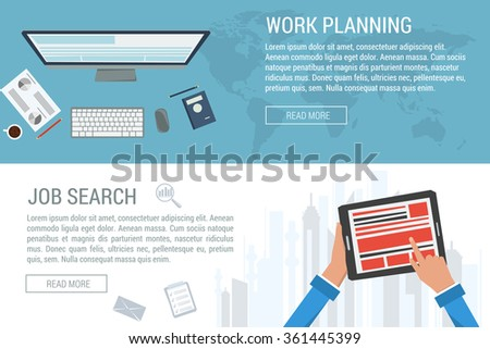 Vector concept work planning and job search. Computer and office items on world map. Tablet in hands on city background. Flat style. Web infographics - stock vector