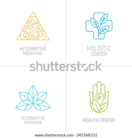 Vector concepts and logo design templates in trendy linear style - alternative medicine, health centers and holistic treatment icons