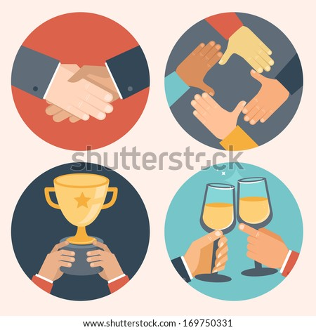 Vector concepts in flat style - partnership and cooperation. Business icons - handshake, cooperation, victory and celebration - stock vector