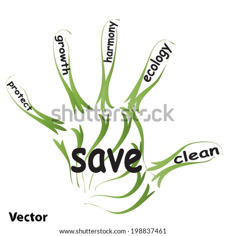 Vector conceptual abstract green ecology, conservation word cloud text in man handprint on white background for environment, recycle, earth, clean, alternative, protection, energy, eco friendly or bio - stock vector