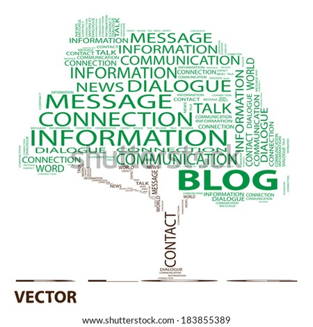 Vector conceptual green tree word cloud on white background, metaphor for communication, speech, message, mail, relation, dialog, talk, report, contact, stair, climb, email, internet wordcloud - stock vector
