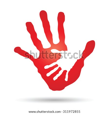 Vector conceptual human, mother, child hand prints painted, isolated on white background for art, care, childhood, family, fun, happy, infant, symbol, kid, little, love, mom, motherhood, young design