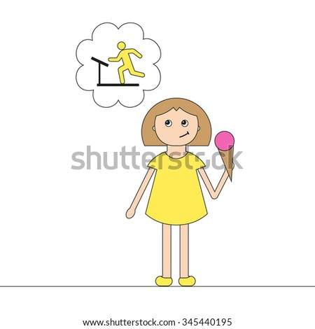 Vector conceptual illustration - diet. Girl with ice cream. Icon man on a treadmill. - stock vector