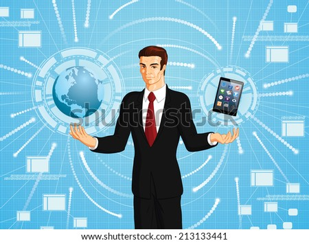Vector conceptual illustration of a businessman connecting to the world using an electronic tablet. - stock vector