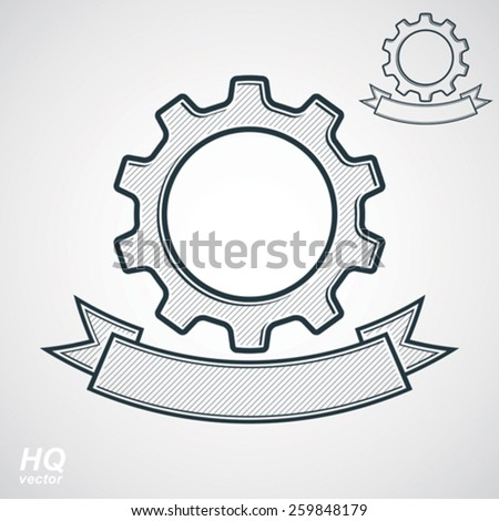 Vector conceptual industry system design element, cog wheel, gear with a decorative curvy ribbon. High quality business icon �¢?? 2 versions. Best engineering project award conceptual symbol. - stock vector