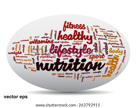 Vector  conceptual oval abstract word cloud on white background as metaphor for health, nutrition, diet, wellness, body, energy, medical, fitness, medical, gym, medicine, sport, heart or science - stock vector