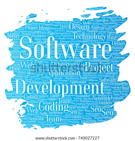 vector conceptual software development project coding technology paint brush word cloud isolated background collage of - Web Design Project Ideas
