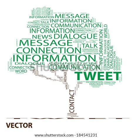 Vector conceptual white tree word cloud on black background, metaphor for communication, speech, message, mail, relation, dialog, talk, report, contact, stair, climb, email, internet wordcloud - stock vector