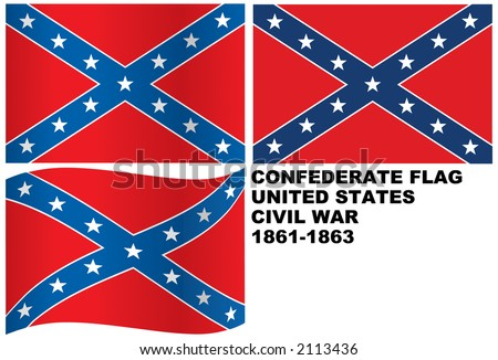 Vector Confederate Rebel Flag - stock vector