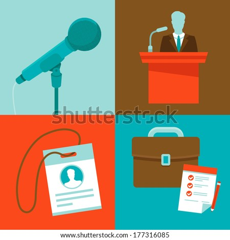 Vector conference concepts in flat style - set of icons - microphone, speaker, badge and briefcase - stock vector