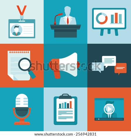 Vector conference icons in flat style - business signs and symbols - stock vector