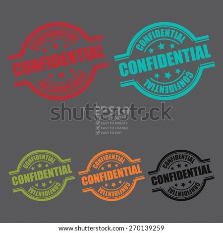 Vector : Confidential Stamp, Badge, Label, Sticker or Icon - stock vector