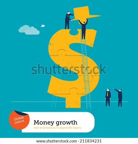 Vector conquering the dollar sign. Vector illustration Eps10 file. Global colors. Text and Texture in separate layers. - stock vector