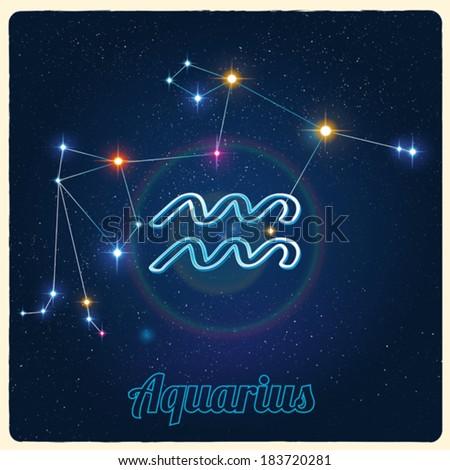Vector constellation Aquarius with Zodiac sign - stock vector